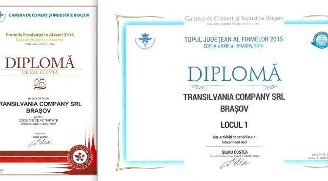 Jubileu de 25 de ani cu premii de excelemta pentru grupul de firme CENTRU DE CONSULTANTA TRANSILVANIA membru UNPR