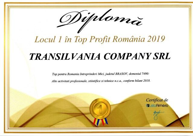 Transilvania Company SRL – Locul I în Top Profit Romania 2019